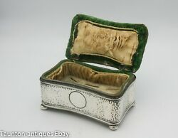 Green Velvet Solid Sterling Silver Jewellery Ring Box Pin Cushion 1907 Edwardian