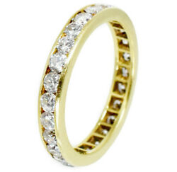 1.40ct Diamond Eternity Band Channel Set In 18k Yellow Gold, F / Vs, Size 5.75