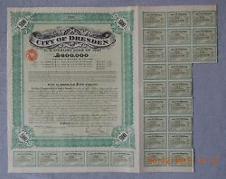 Germany Bond City Of Dresden Sterling Loan 1927 100andpound 21 Cupons Uncancelled