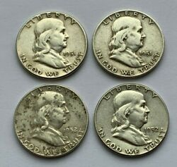 Lot Of 4 Franklin 19511951 D1952 D And 1952 Silver Half Dollar Coins