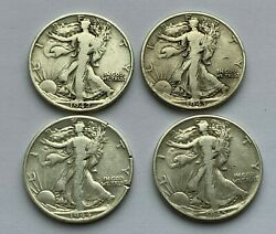 Lot Of 4 Walking Liberty 1942 S19431944 D And 1945 Silver Half Dollar Coins