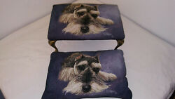 Linda Picken Vintage Schnauzer Foot Stool With Matching Pillow - Tapestry -