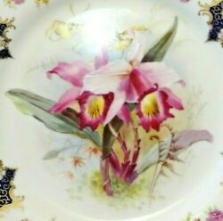 Hand-painted Orchids In Antique Royal Worcester Plates And Compotes Free Shipping