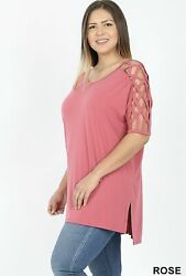 NEW CRISS CROSS SHOULDER SHORT SLEEVE SHIRT Plus Size 1X 2X 3X USA Fast Ship $10.00