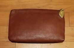 Vintage LIBAIRE USA Brown Leather Clutch $9.99
