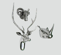Large Wall Mounted Metal Stag Head With Rhino And Ram Head Deer Antelope Fx/]-