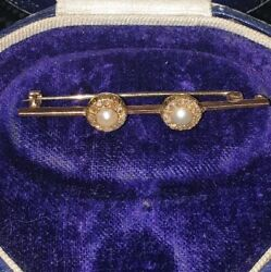 Beautiful Antique Double Diamond And Pearl Cluster Bar Brooch 5cm