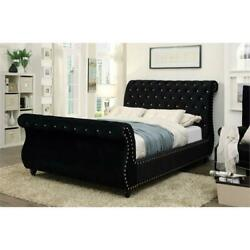 Furniture Of America Luxy Transitional Fabric King Sleigh Bed In Black