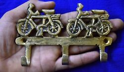 Brass Clothes Hanger Golden Two Bicycle Design Kitchen Room Wall Hook Dec Mj70