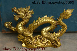 19 China Copper Brass Fengshui 12 Zodiac Year Animal Dragon Loong Beast Statue