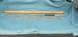 Vintage Rare Fly Fishing Pole Four Piece With Bamboo Holder Tube