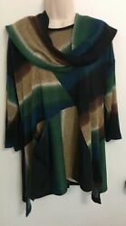 Designer IC BY CONNIE K Stretch Knit Tunic Top Shirt Blouse Size- L w  Belt