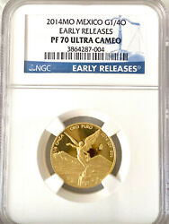 2014 Mexico 1/4oz Libertad Gold Proof Coin Ngc Pf70 Uc Early Releases Key