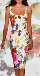 DOLCE & GABBANA ITALY floral stretch SILK dress It size 40-42