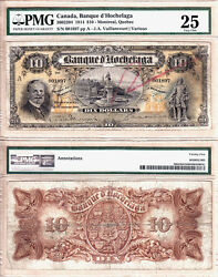 Very Rare 1914 10 Banque D'hochelaga, Pmg Vf25. Today's National Bank