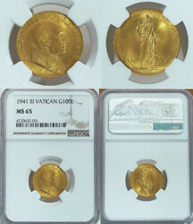 1941 100 Lire Vatican Gold Coin With Pope Pius Vii Ngc Certified Ms 65