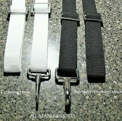 Bimini Top Straps And Loop Adjustable To 72 - W/deck Loops - All Stainless Steel