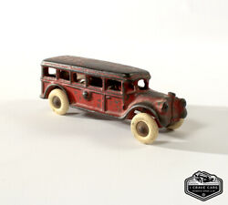 Collectible Antique A C Williams Cast Iron Bus Toy Red Rubber Wheels