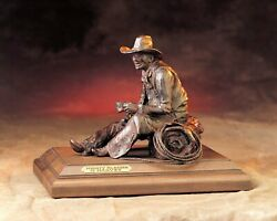 G. Harvey Mighty Blessed 10x7x8 S/n Bronze Sculpture Western Cowboy With Rope