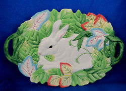 Fitz And Floyd Le Lapin Large Oval Serving/display Platter - Pristine - Estate