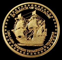 2010 1530- 1690 Gold 1oz Proof In Search Of Galleons Wall Street Medallion