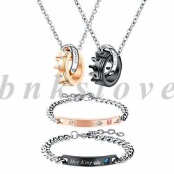 4pcs Stainless Steel His Queen Her King Matching Jewelry Sets Bracelets Necklace