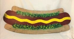Vintage Hand Painted Wooden Hot Dog Sign