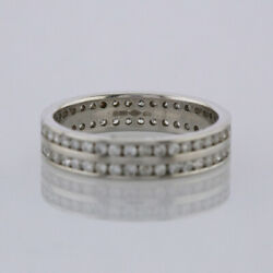 Diamond Channel Set Eternity Ring 18ct White Gold Size P 1.12 Carats