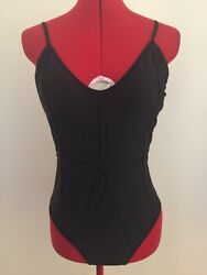 CUPSHE SWIMSUIT~M~ONE PIECE~BLACK~ADJ STRAPS~SEAMED DESIGN~NWT