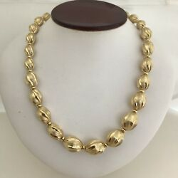 14k Yellow Gold Milor Textured Polished And Brushed Graduated 18 Bead Necklace