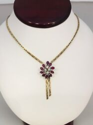 14k Yellow Gold Vintage Diamond And Marquise Ruby Lariat Tassel Necklace 16 1.80
