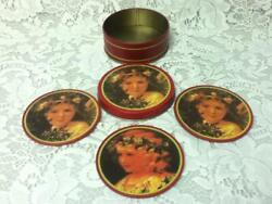 Vintage 5-pc Doll Portrait Tin Coaster Set In Tin Box 3.5in D