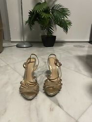 Jewel Badgley Mischka Shoes Pumps Sandals  Black Size 9 Gold Strappy