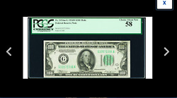 A Very Rare Fred Vinson Signature 100 1934b Mule Pcgs Choice About New 58