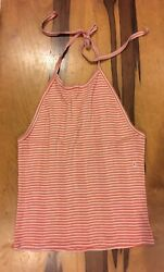 american eagle womens pink stripe ribbed halter open back crop top large