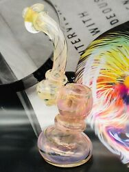 New 5.5 Inch Collectible Pink And Gold Fumed Color Changer Glass Bubbler Pipe Usa