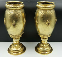 Amazing French 19th Century Vermeil Solid Silver Baluster Vases Floral Design