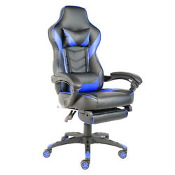 C-type Foldable Nylon Foot Racing Chair With Footrest Black And Blue