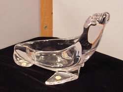 Vintage Sevres France Glass Crystal Seal Shaped Nut-candy Dish Or Pipe Stand
