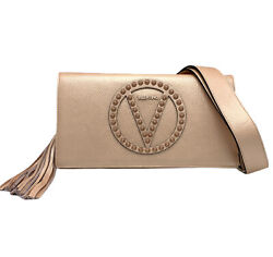 VALENTINIO By Mario Valentino LENA ROCK STUDDED ROSE LEATHER CLUTCH SHOULDER BAG $531.25
