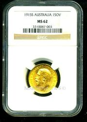 Australia 1915 S Gold Coin Gv Sovereign Ngc Certified Genuine Ms 62 Rare Mint