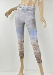 EVOLUTION & CREATION Abstract Pastel Metallic Foil High-Rise Capri Leggings XS