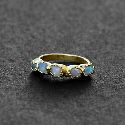 Natural High Fire Opal Raw Gemstone Antique Fashion Women Design Stackable Rings