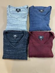 Rock And Republic Mens Long Sleeve Pullover V Neck Sweaters Size Xl Lot Of 4
