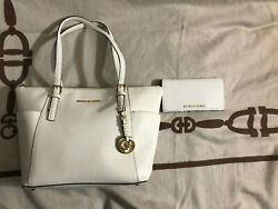 MICHAEL Michael Kors WHITE Leather Jet Set East West Zip Tote and Slim Wallet