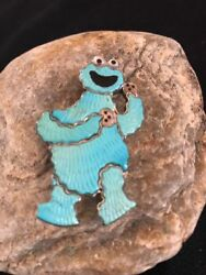 Collectible Zuni Sterling Silver Cookie Monster Inlay Pin Pendant Old Paw A395