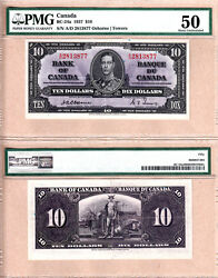 1937 10 Kgvi Bank Of Canada Scarcer Osborne And Towers Bc-24a. Pmg Au50