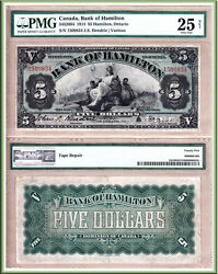 Bank Of Hamilton 1914 5. Beautiful Large Size Chartered Bank Issue. Pmg Vf25