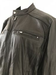 BNWT Michael Kors Macy's Gents Soft Black Leather Cafe Racer Jacket Size XL