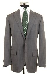 Polo Italy Gray Woven Wool Mohair Blend 2pc Suit Jacket Pants 42 L